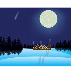 Winter night and village in wood vector image