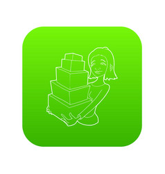 woman holding many boxes icon green vector image