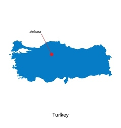 Detailed map of Turkey and capital city Ankara vector image vector image