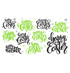 hand lettering happy easter text set vector image