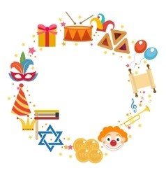 Purim frame template with space for text isolated vector image vector image