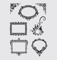Swirl Ornaments Floral Frame and Corner vector image vector image