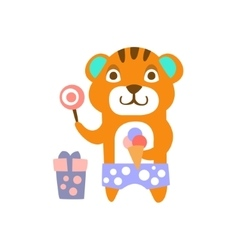 Tiger With Party Attributes Girly Stylized Funky vector image