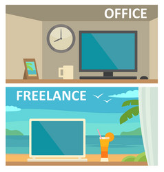 two different workplace in office and on tropical vector image vector image