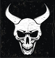 White Grunge Demon Skulls vector image