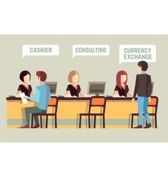 Bank interior with cashier consulting currency vector image vector image