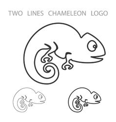 Chameleon Two Lines Logo Minimalism Style vector image