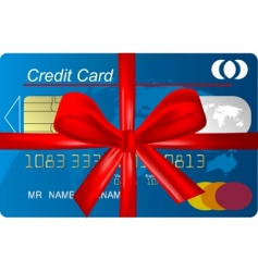 credit card with red ribbon vector image vector image