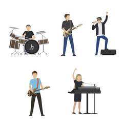 faceless musicians plays on instruments and sing vector image vector image
