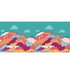 Fall landscape horizontal seamless pattern vector image