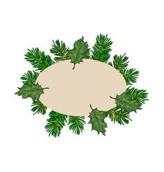 fir tree and mistletoe oval frame label banner vector image
