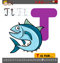 letter t with cartoon tuna fish vector image
