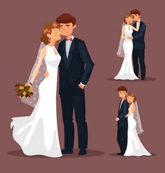 set of isolated married couple wedding vector image vector image