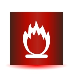 Stock fire icon on a red background vector image