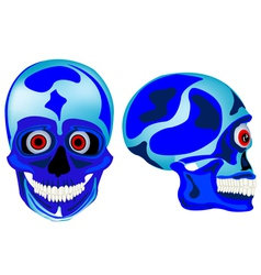 Cartoon skull of the person in front and profile vector image