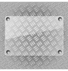 Glass plate on metallic plate vector image