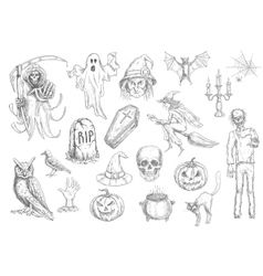Halloween holiday creepy and horror sketch symbols vector image