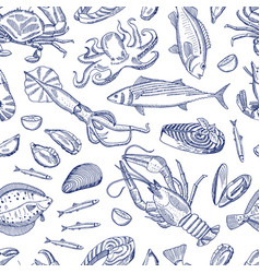 hand drawn contoured seafood elements vector image vector image
