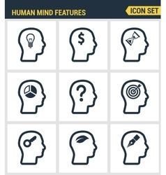 Icons set premium quality of human mind features vector image vector image