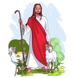 jesus is a good shepherd vector image vector image