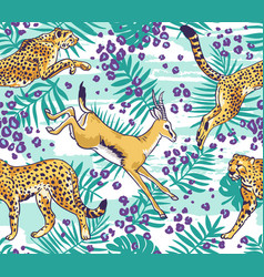 leopard cheetah and palm leaves tropical seamless vector image