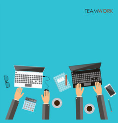 Working process of business team concept hands vector