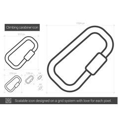 climbing carabiner line icon vector image
