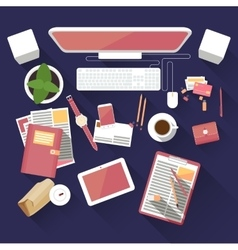 Flat office workspace vector image