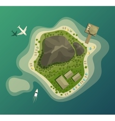 Island or isle with beach and mountain top view vector