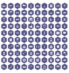 100 tourist attractions icons hexagon purple vector