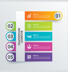 5 data infographics tab in horizontal paper index vector