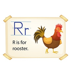 A letter R for rooster vector