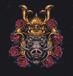 Angry wild boar head in samurai helmet vector
