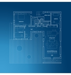 Architectural blueprint with plan vector