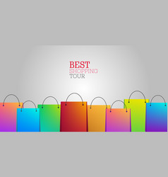 best shopping tour background with shopping bags vector image