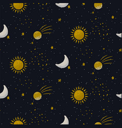 blue galaxy seamless pattern background vector image