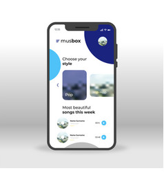 blue music box ui ux gui screen for mobile apps vector image