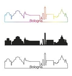 Bologna skyline linear style with rainbow vector image