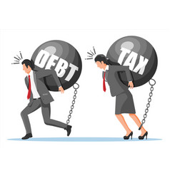 Business people chained to big heavy debt weight vector