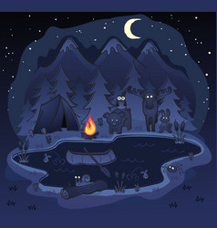 camping in woods at night cartoon vector image