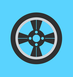 car wheel flat icon on background vector image