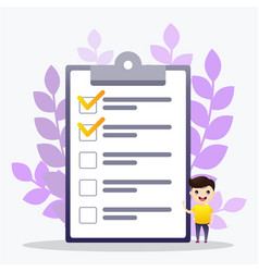 check list man worker standing in front check vector image