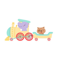 Cheerful red cheeked hippo and dog driving toy vector