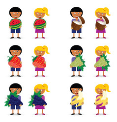 children holding fruit vector image