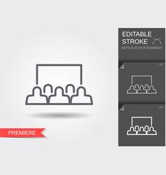 cinema auditorium line icon with editable stroke vector image