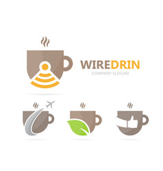 Coffee and wifi logo combination drink vector