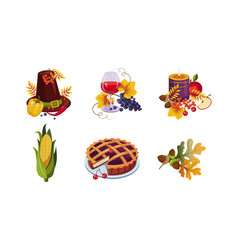 collection of thanksgiving day holiday traditional vector image