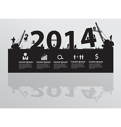Construction site crane building 2014 text vector image