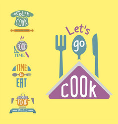 cooking badge motivation text vector image
