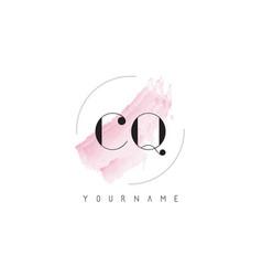 Cq c q watercolor letter logo design with vector